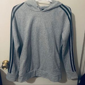 Grey Adidas Hoodie with Stripes